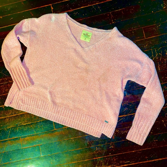 Hollister Sweaters - Pink velvet knit cropped sweater